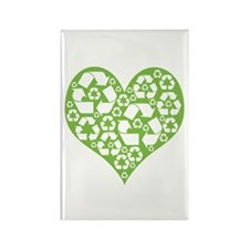 Green Heart Recycle Rectangle Magnet