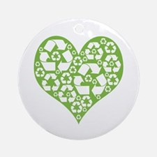 Green Heart Recycle Ornament (Round)