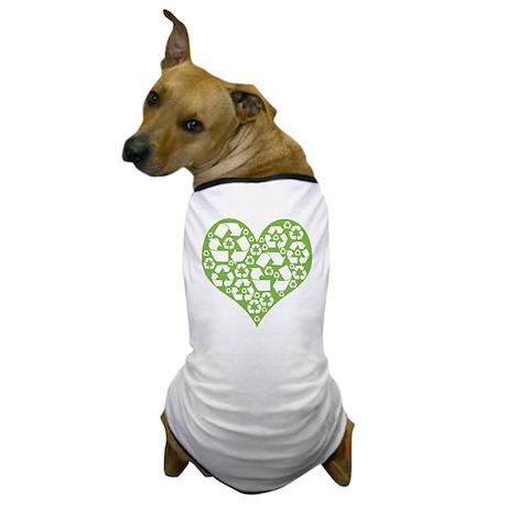 Green Heart Recycle Dog T-Shirt