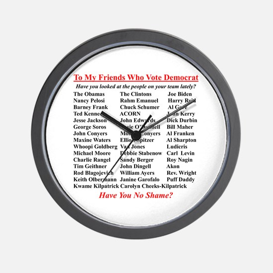 """Dems Hall of Shame"" Wall Clock"