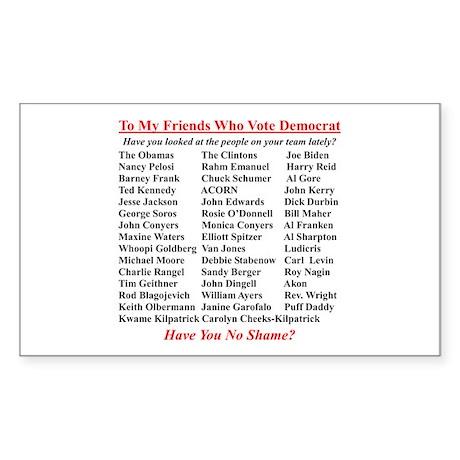 """Dems Hall of Shame"" Rectangle Sticker"