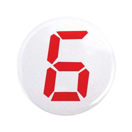 """6 six red alarm clock number 3.5"""" Button"""