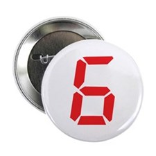 """6 six red alarm clock number 2.25"""" Button"""