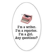 Pink Typewriter Oval Sticker (10 pk)