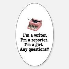 Pink Typewriter Oval Sticker (10 pk)