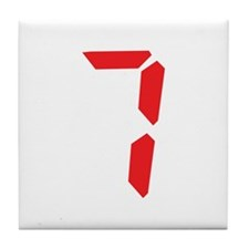 7 seven red alarm clock numbe Tile Coaster