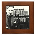 George Orwell: Language Thought Framed Tile