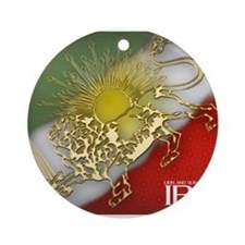 Iran Golden Lion & Sun Ornament (Round)