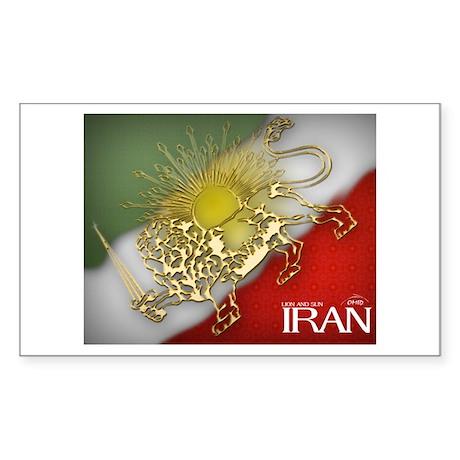 Iran Golden Lion & Sun Rectangle Sticker