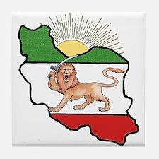 Iran Flag-Map & Sun Tile Coaster