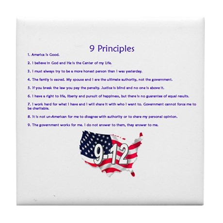 9 Principles 12 Values Tile Coaster