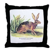 Audubon Jack Rabbit Animal Throw Pillow