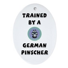 Trained by a German Pinscher Oval Ornament