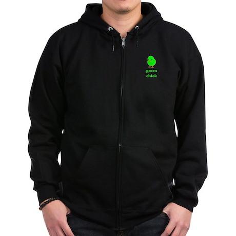 Green Chick Earth Day T Shirt Zip Hoodie (dark)