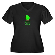 Green Chick Earth Day T Shirt Women's Plus Size V-