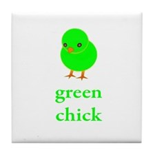 Green Chick Earth Day T Shirt Tile Coaster