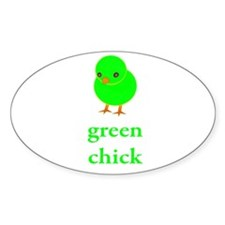 Green Chick Earth Day T Shirt Oval Decal