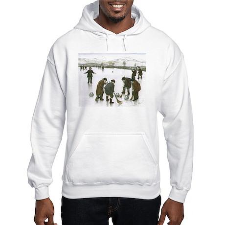 Hooded Sweatshirt with Curling Print