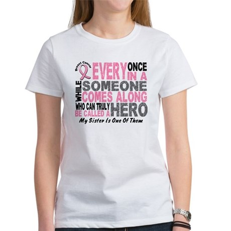 HERO Comes Along 1 Sister BREAST CANCER Women's T-