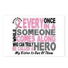 HERO Comes Along 1 Sister BREAST CANCER Postcards