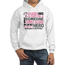 HERO Comes Along 1 Daughter BREAST CANCER Hoodie