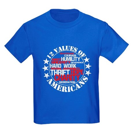 """12 Values of Americans "" Kids Dark T-Shirt"