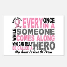 HERO Comes Along 1 Aunt BREAST CANCER Postcards (P