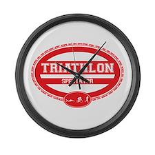 Triathlon Oval - Men's Spectator Large Wall Clock