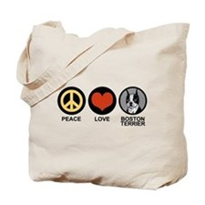 Peace Love Boston Terrier Tote Bag