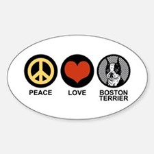 Peace Love Boston Terrier Oval Decal