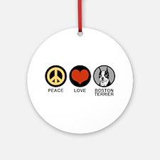 Peace Love Boston Terrier Ornament (Round)