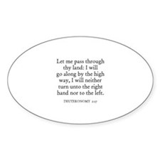 DEUTERONOMY 2:27 Oval Decal