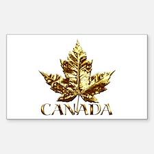 Gold Canada Souvenir Rectangle Decal