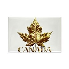 Canada Fridge Magnet Chrome Gold Maple Leaf