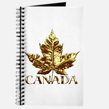 Canada Journal Notebook Gold Maple Leaf Book