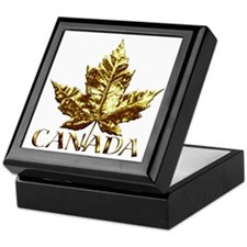 Canada Keepsake Box Gold Maple Leaf Jewelry Box