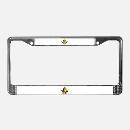 Gold Canada License Plate Frame Maple Leaf Art