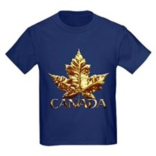 Canada Kids T-Shirt Dark Cool Gold Leaf T-shirt