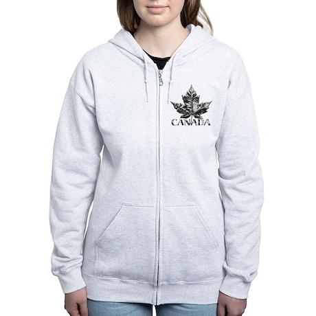 Canada Women's Zip Hoodie Cool Chrome Leaf Art