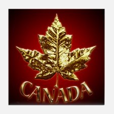 Canada Souvenir Coaster Gold Maple Leaf Coaster