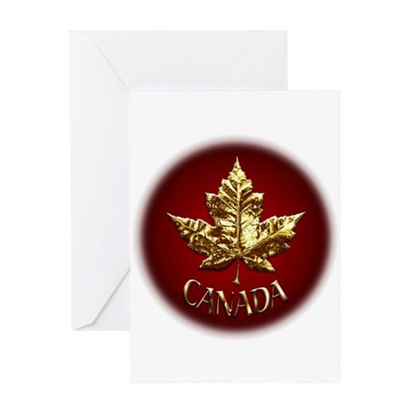 Gold Canada Card Metal Maple Leaf Greeting Cards