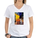 Cafe / Dalmatian #1 Women's V-Neck T-Shirt