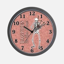 Bagpipes Playing Skeleton Wall Clock