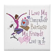 Online Friends Tile Coaster