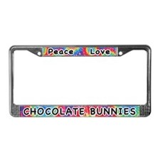 Peace Love Chocolate Bunnies License Plate Frame