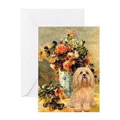 Vase / Lhasa Apso #9 Greeting Card