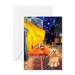 Cafe / Lhasa Apso #9 Greeting Card