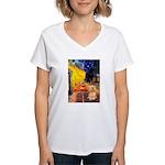 Cafe / Lhasa Apso #9 Women's V-Neck T-Shirt