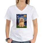 Starry / Lhasa Apso #9 Women's V-Neck T-Shirt