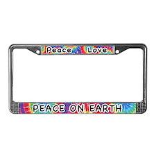 Peace Love Peac on Earth License Plate Frame